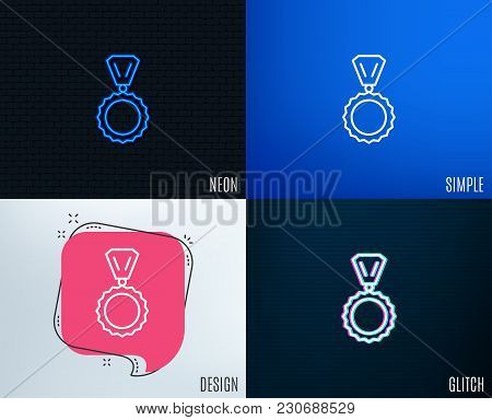 Glitch, Neon Effect. Award Medal Line Icon. Winner Achievement Symbol. Glory Or Honor Sign. Trendy F