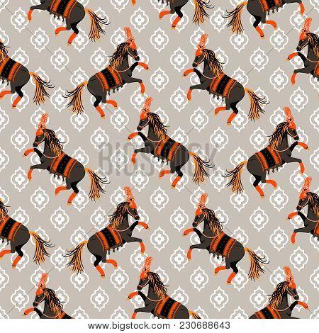 Dark Horse Grey And Orange Seamless Vector Pattern. Circus Animal Repeat Background.