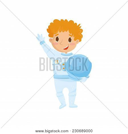 Cute Red-haired Teen Boy Wants To Be Cosmonaut In Future. Cartoon Child Character Wearing Astronaut