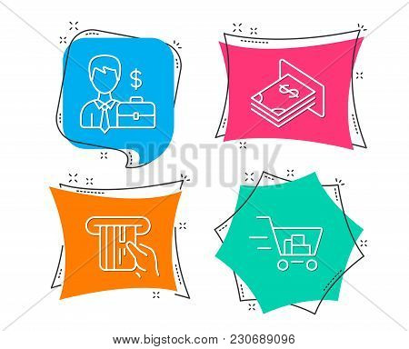 Set Of Businessman Case, Credit Card And Atm Money Icons. Shopping Cart Sign. Human Resources, Atm P