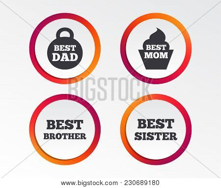 Best Mom And Dad, Brother And Sister Icons. Weight And Cupcake Signs. Award Symbols. Infographic Des