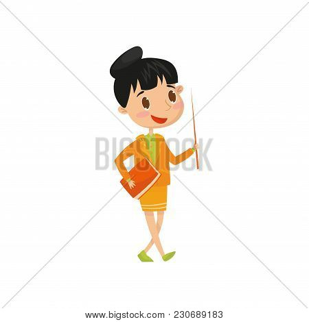 Cute Teen Girl Wants To Be School Teacher When Grow Up. Cartoon Child Character Holding Book And Poi