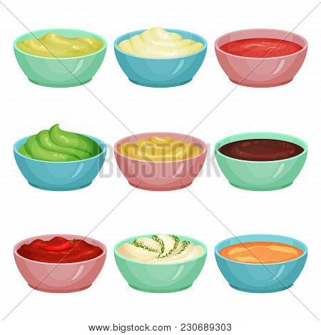 Collection Of Different Sauces In Ceramic Dip Bowls Ketchup, Wasabi, Creamy Cheese, Guacamole, Musta