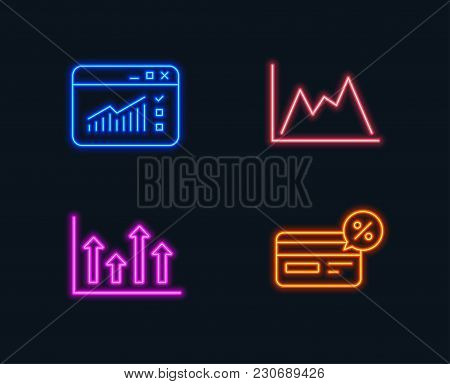Neon Lights. Set Of Upper Arrows, Web Traffic And Diagram Icons. Cashback Sign. Growth Infochart, We