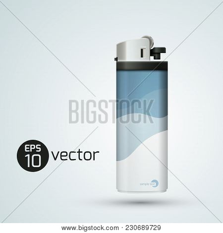 Modern Plastic Lighter Concept In Realistic Style On Light Background Isolated Vector Illustration