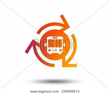 Bus Shuttle Icon. Public Transport Stop Symbol. Blurred Gradient Design Element. Vivid Graphic Flat