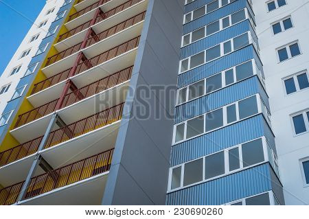 Glazed Balconies In A High-rise Building Under Construction