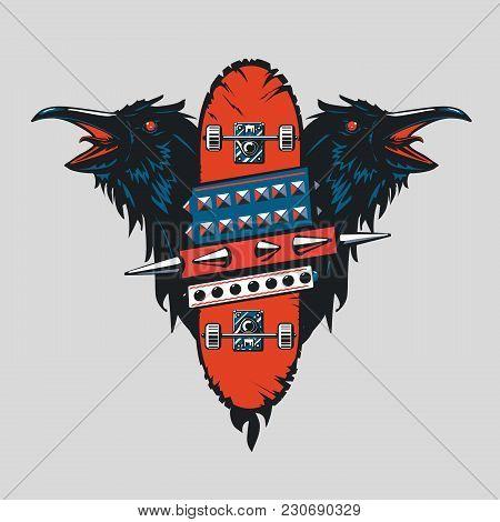 Skate Punk Emblem With Birds. Skateboard Vintage Poster. Tattoo Style. Extreme Sport Sign.