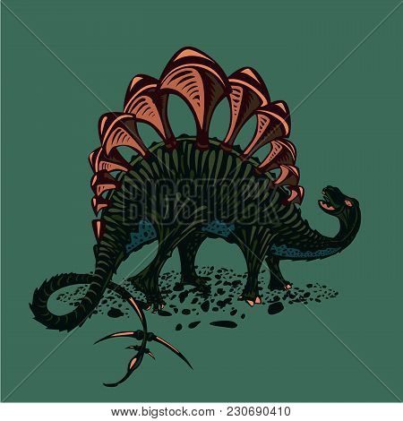 Color Stegosaurus. Dinosaur Silhouette On Isolated Background. Tattoo Style.