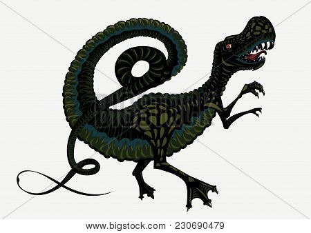 Color Tyrannosaur. Dinosaur Silhouette On Isolated Background. Tattoo Style.