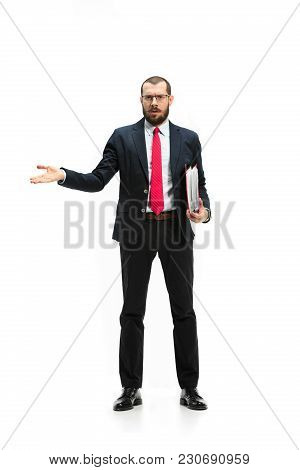 Full Body Or Full-length Portrait Of Businessman With Red Folder On White Studio Background. Angry B