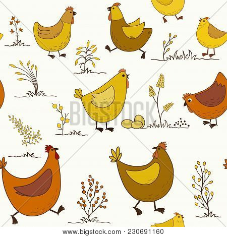 Seamless Pattern With Cartoon Colorful Chicken On White Background