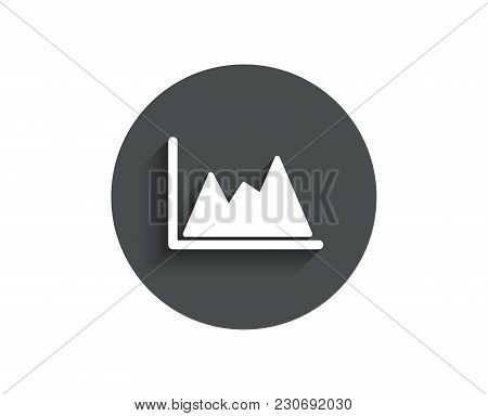 Line Chart Icon. Financial Growth Graph Sign. Stock Exchange Symbol. Circle Flat Button With Shadow.