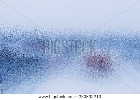 Blurry Abstract Background Of Foggy Condensation On Window Glass Natural Surface. High Humidity With