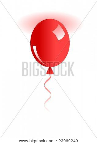 Illustration of red balloon isolated on white. Raster version. Vector version is in my gallery.