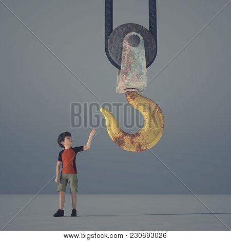 Little Boy Reaching A Crane Hook - 3d Render Illustration