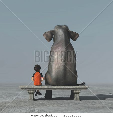 Little Boy And An Elephant Sits On A Bank And Look To The Horizon Together. This Is A 3d Render Illu