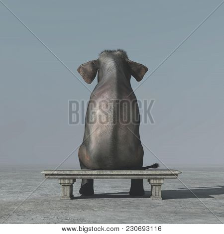 An Elephant Sitting On A Bank. This Is A 3d Render Illustration
