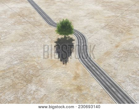 With A Tree In The Middle Of The Road - Concept Of Protection.  This Is A 3d Render Illustration