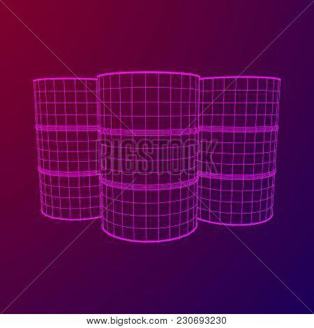 Metal Barrel Wireframe Low Poly Mesh Vector Illustration.