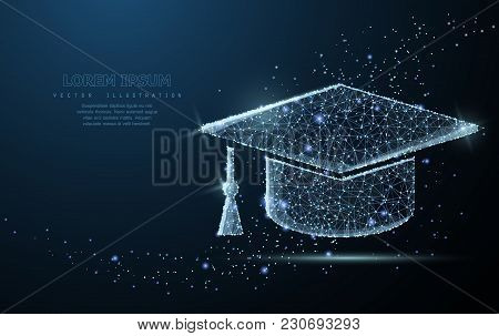 Graduate Cap. Polygonal Wireframe Mesh On Blue Night Sky With Dots, Stars And Looks Like Constellati