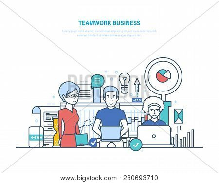 Business Teamwork, Start-up, Brainstorming. Group Corporate Work Of Businessmen, Cooperation, Partne