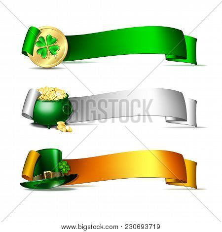 Patricks Day Banners. Colorful Ribbons With Green Leprechaun Top Hat, Pot Full Of Gold Coins And Gol
