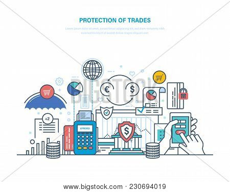 Protection Of Trade, Investment And Auctions. Financial Stock Market, E-commerce. Trade Exchange, Gr