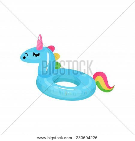 Cartoon Icon Of Rubber Ring For Swimming In Shape Of Blue Unicorn With Colorful Tail. Inflatable Cir