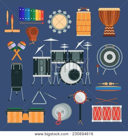 Vector Drum Percussion Musical Instruments Flat Style Classical Orchestral, Rock And Pop Concert Dru