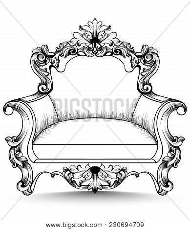 Baroque Armchair With Luxurious Ornaments. Vector French Rich Intricate Structure. Victorian Royal S