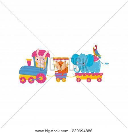 Cute Animals Riding On Train. Cartoon Pink Bunny, Orange Fox, Big Blue Elephant And Colorful Parrot.