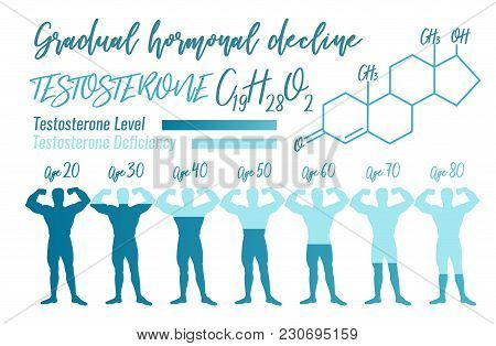 Testosterone Hormone Level. Beautiful Medical Vector Illustration With Molecular Formula In Blue Col
