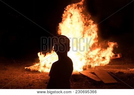 Little Jewish Boy Do Bonfire At Jewish Holiday Of Lag Baomer