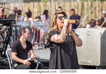 Beer-sheva, Israel - March 3, 2018: Concert Of Israeli Singer Sarit Hadad At Purim Event In Beer-she