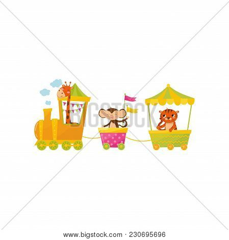 Cartoon Character Of Cute Giraffe, Monkey And Tiger On Train. Colorful Wagons With Wild African Anim