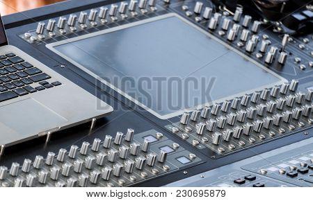 Professional Dj Audio Mixer Console. Close-up Shot