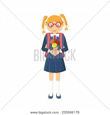 Learning, Education In School And University, Knowledge. Young Girl, Child In School Clothes, Wearin
