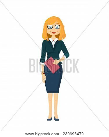 Businesswoman Leader, Girl Successful Entrepreneur. Solid Female Businesswoman, In A Beautiful, Stri