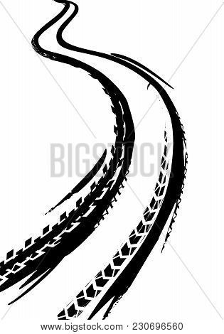 Tire Tracks Print Texture. Off-road Background. Graphic Vector Illustration. Editable Graphic Image