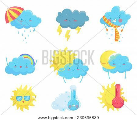 Colorful Set Of Weather Forecast Icons. Funny Cartoon Sun And Clouds. Adorable Faces With Various Em
