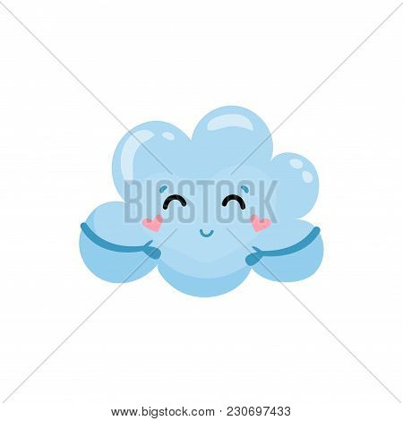 Blue Cloud With Little Hands, Charming Face And Hearts On Cheeks. Cartoon Weather Character. Design