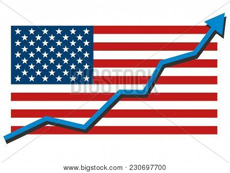 American Usa Flag With Blue Arrow Graph Going Up Showing Strong Economy In Recovery And Shares Rise.