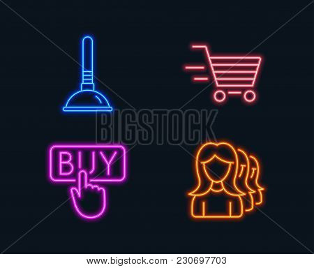 Neon Lights. Set Of Delivery Shopping, Buying And Plunger Icons. Women Headhunting Sign. Online Buyi
