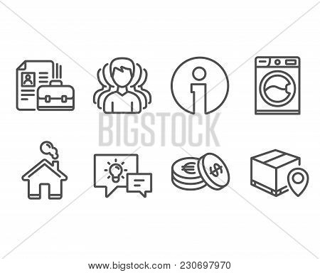 Set Of Savings, Group And Vacancy Icons. Washing Machine, Idea Lamp And Parcel Tracking Signs. Cash