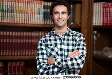 Man in a library