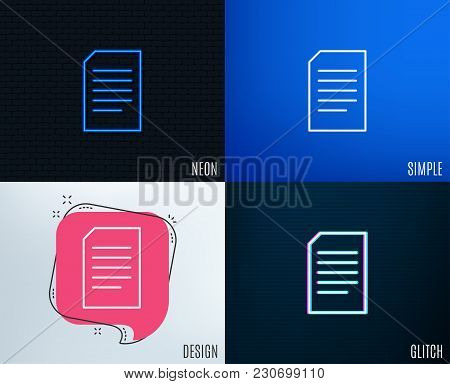 Glitch, Neon Effect. Document Management Line Icon. Information File Sign. Paper Page Concept Symbol