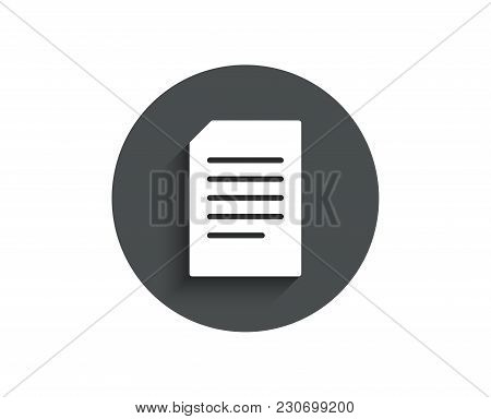 Document Management Simple Icon. Information File Sign. Paper Page Concept Symbol. Circle Flat Butto