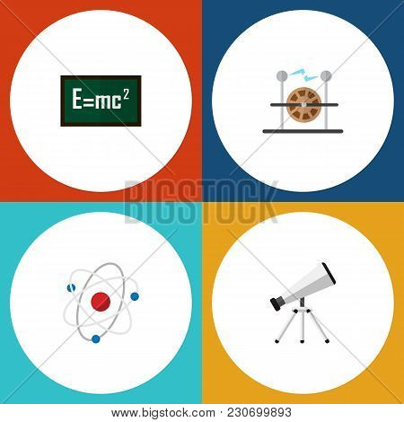Icon Flat Study Set Of Electricity, Atom, Formula And Other Vector Objects. Also Includes Theory, Sc