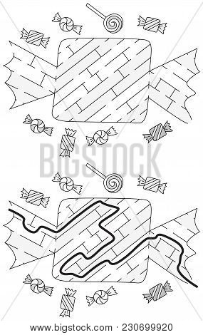 Easy Candy Maze For Younger Kids With A Solution In Black And White